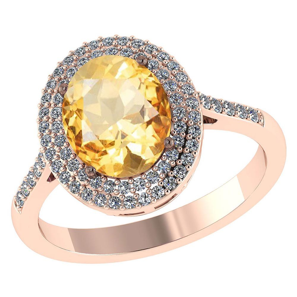 Certified 2.52 CTW Genuine Citrine And Diamond 14K Rose Gold Ring #PAPPS91486