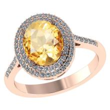Lot 20161005: Certified 2.52 CTW Genuine Citrine And Diamond 14K Rose Gold Ring #PAPPS91486