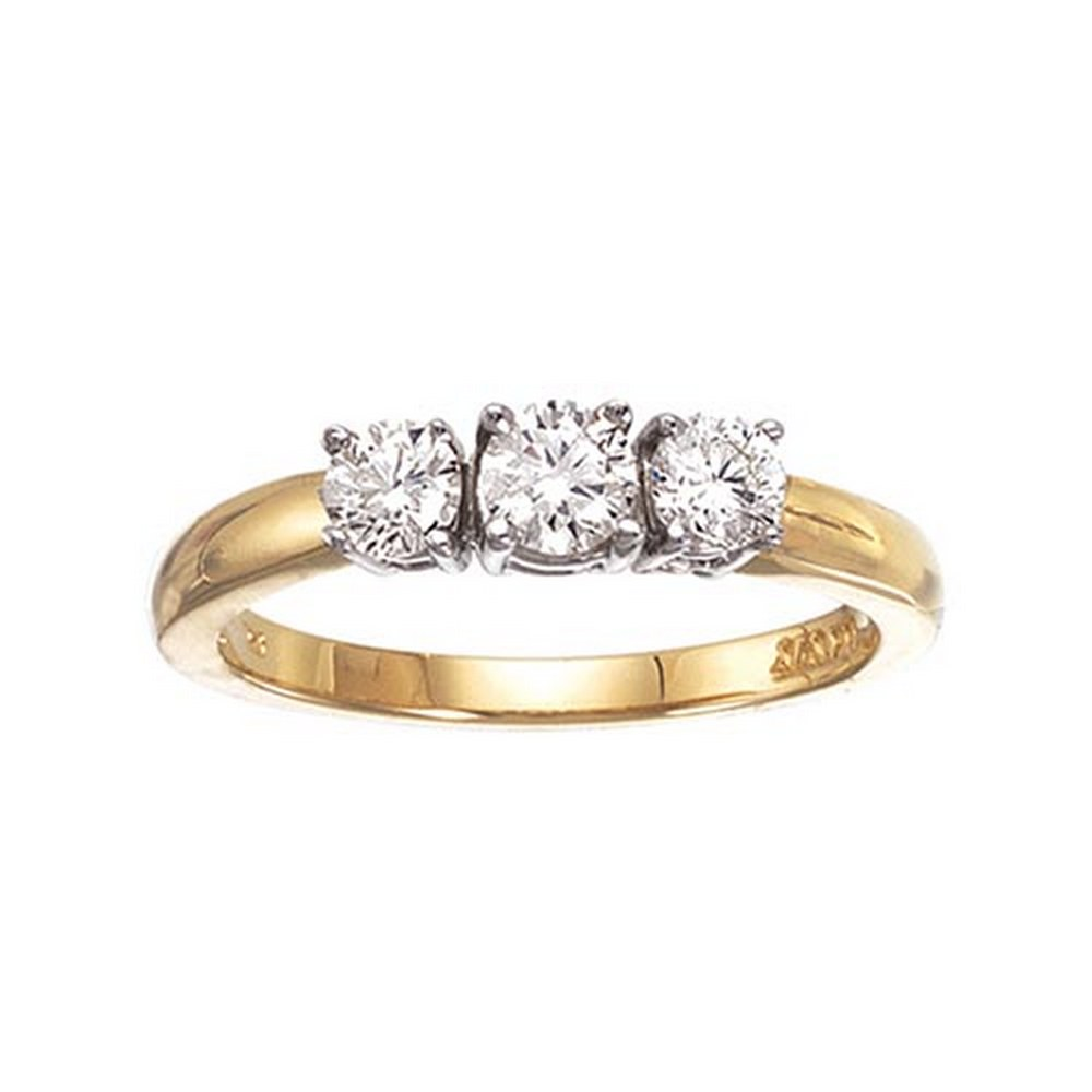 Certified 14k Yellow Gold 0.50 Ct Three Stone Diamond Ring #PAPPS51187