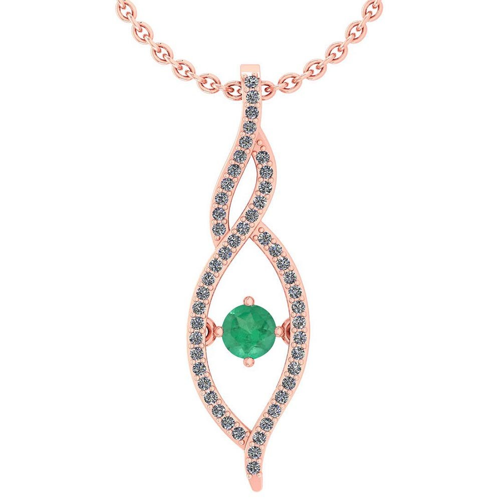 Lot 20161009: Certified 0.47 Ctw Emerald And Diamond 14k Rose Gold Pendant VS-SI1 #PAPPS95326