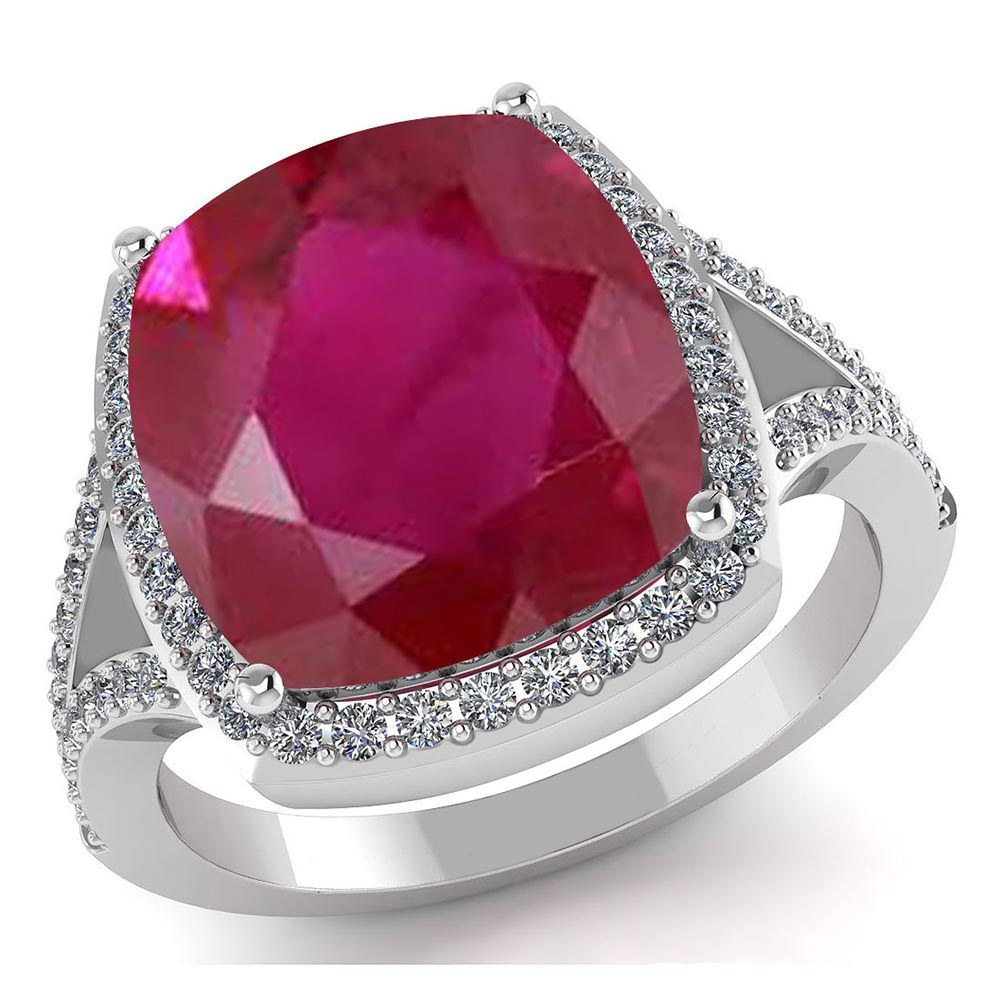 Certified 4.30 CTW Genuine Ruby And Diamond 14K White Gold Ring #PAPPS91555