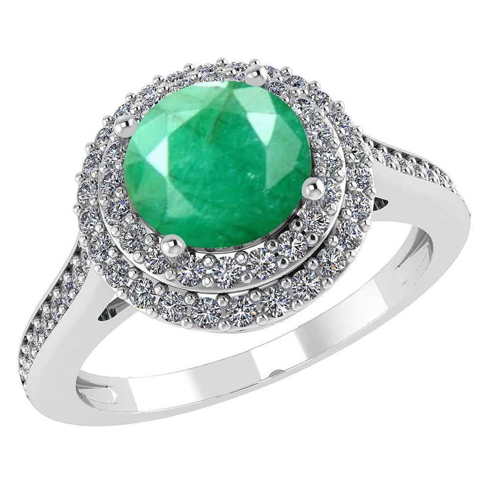 Certified 3.2 CTW Genuine Emerald And Diamond 14K White Gold Ring #PAPPS91524