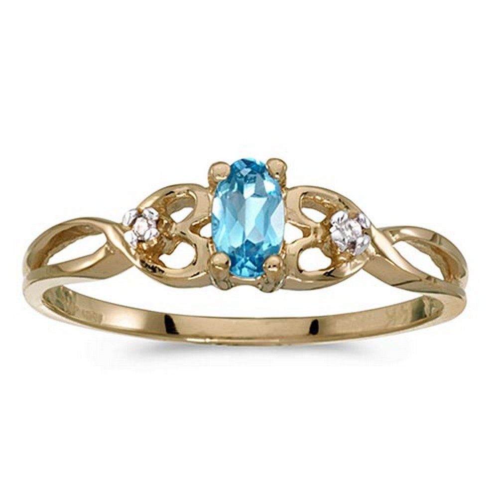 Certified 14k Yellow Gold Oval Blue Topaz And Diamond Ring #PAPPS51402