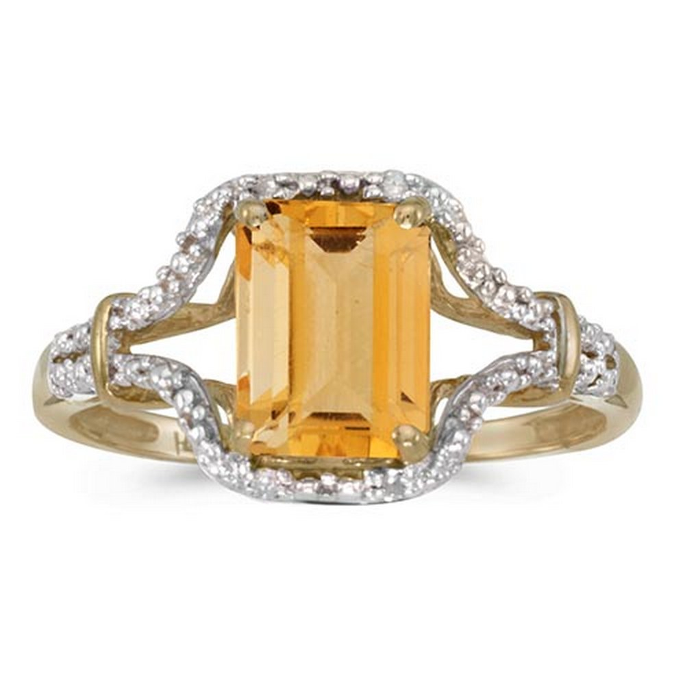 Lot 20161018: Certified 10k Yellow Gold Emerald-cut Citrine And Diamond Ring #PAPPS51316