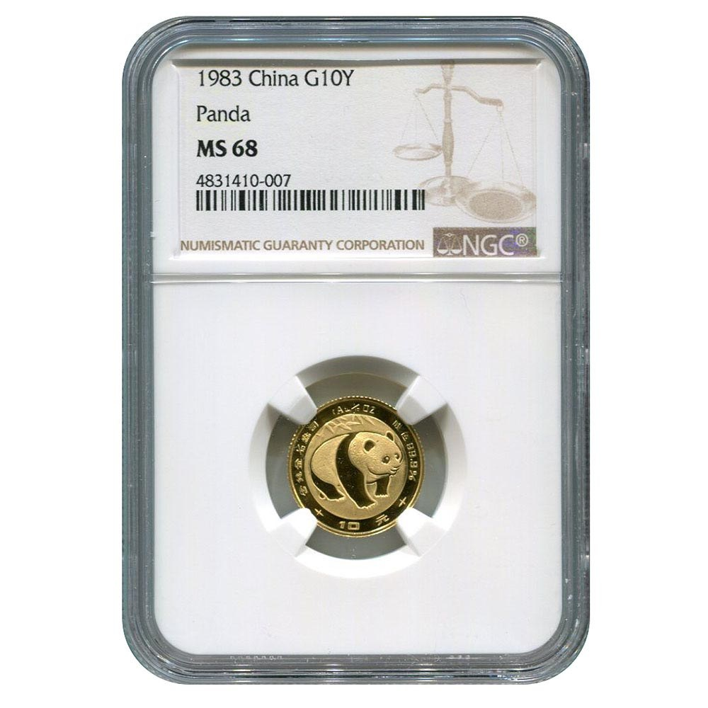 Certified Tenth Ounce Chinese Gold Panda 1983 10 Yuan MS68 NGC #PAPPS95656