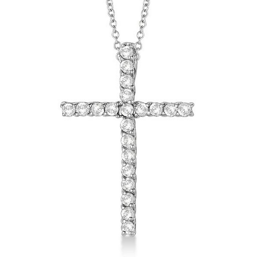 Diamond Cross Pendant Necklace 14kt White Gold (0.75ct) #PAPPS21344