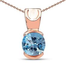 Lot 20161020: Certified 1.40 CTW Genuine Blue Topaz 14K Rose Gold Pendant #PAPPS90925