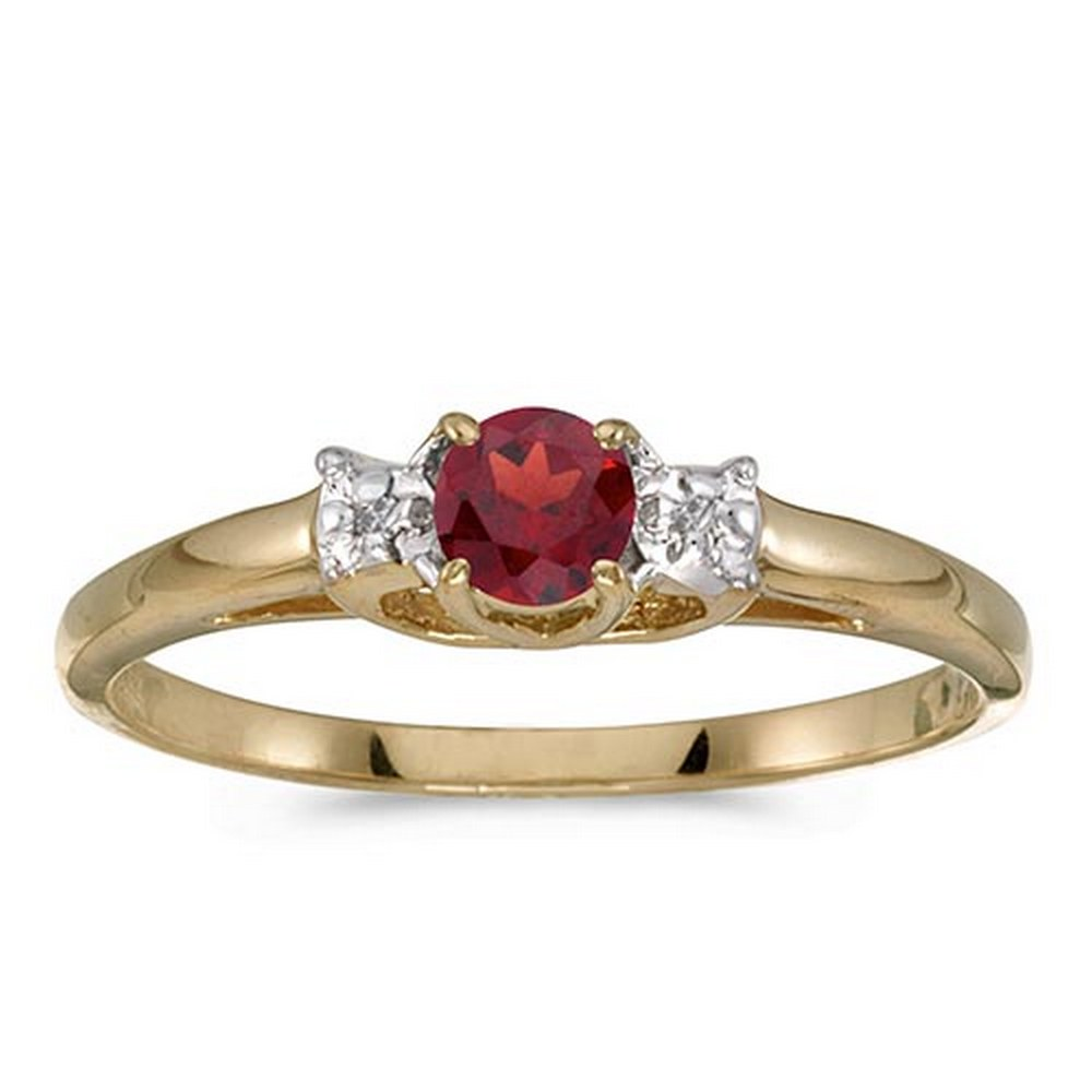 Certified 10k Yellow Gold Round Garnet And Diamond Ring #PAPPS51164