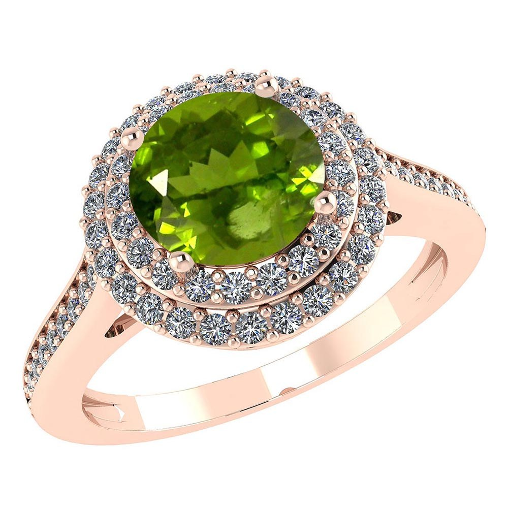 Certified 2.22 CTW Genuine Peridot And Diamond 14K Rose Gold Ring #PAPPS91516