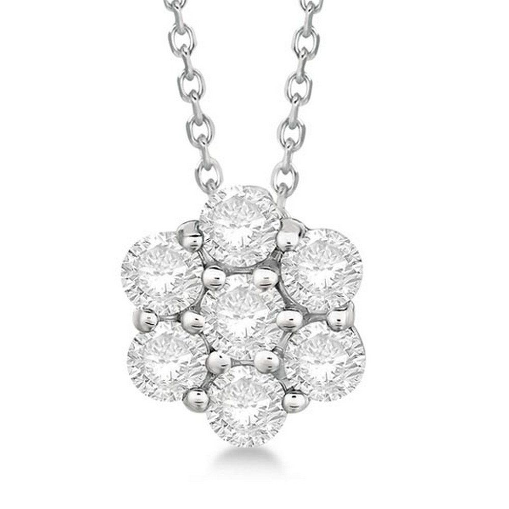 Cluster Diamond Flower Pendant Necklace 14K White Gold (1.50ct) #PAPPS21358