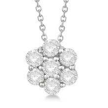 Lot 20161023: Cluster Diamond Flower Pendant Necklace 14K White Gold (1.50ct) #PAPPS21358