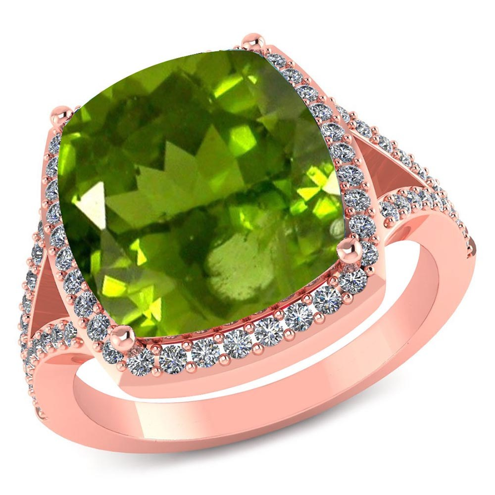 Certified 3.90 CTW Genuine Peridot And Diamond 14K Rose Gold Ring #PAPPS91547
