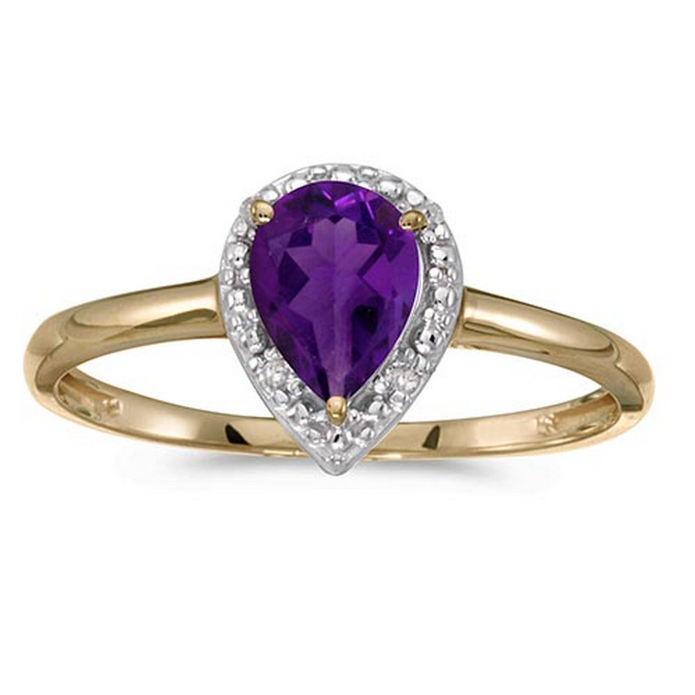 Certified 14k Yellow Gold Pear Amethyst And Diamond Ring #PAPPS51431