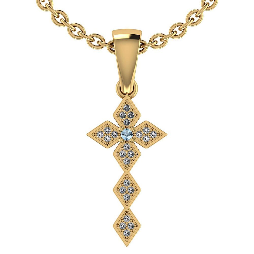 Certified 0.068 Ctw Aquamarine And Diamond 14k Rose Gold Halo Pendant #PAPPS95440