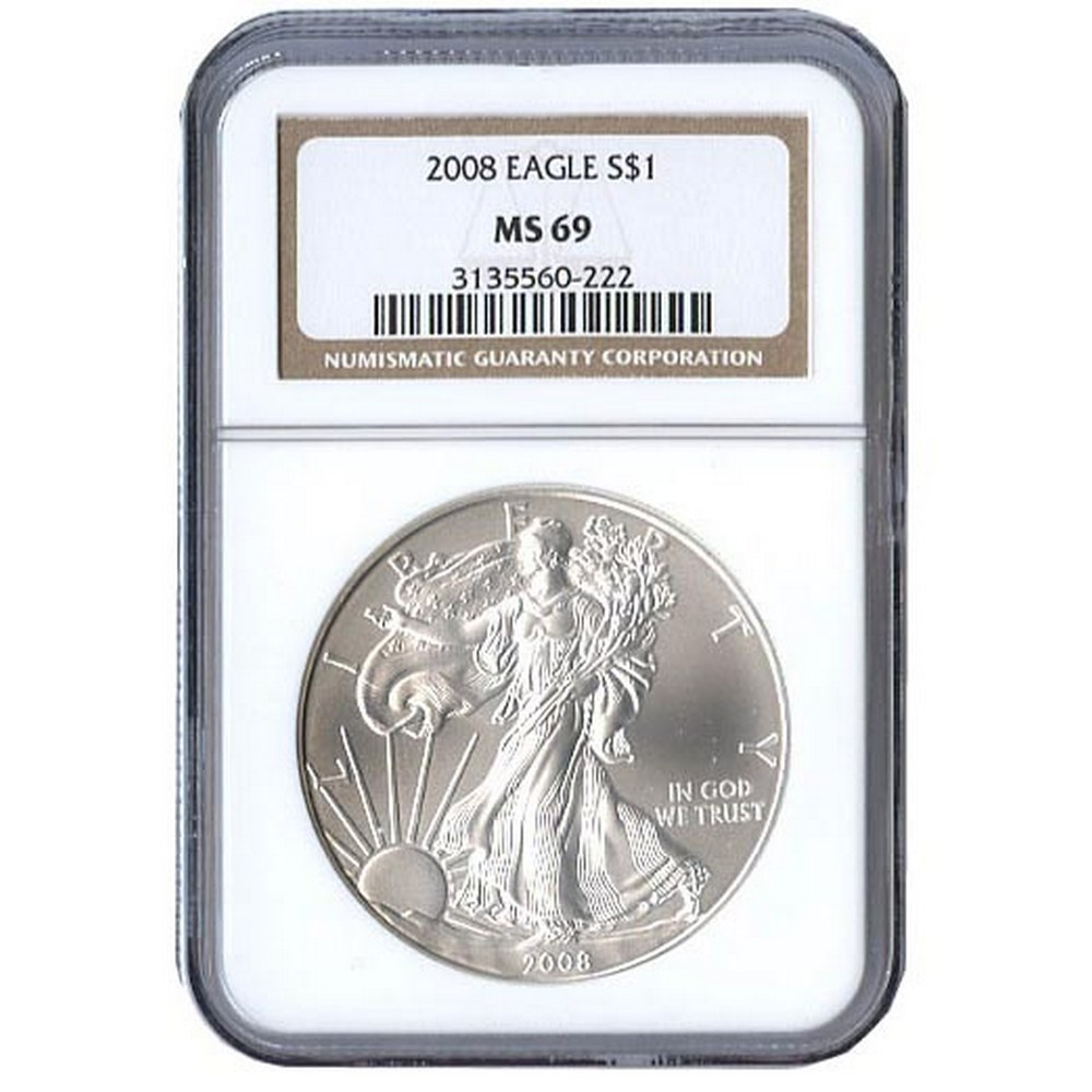 Certified Uncirculated Silver Eagle 2008 MS69 #PAPPS84338