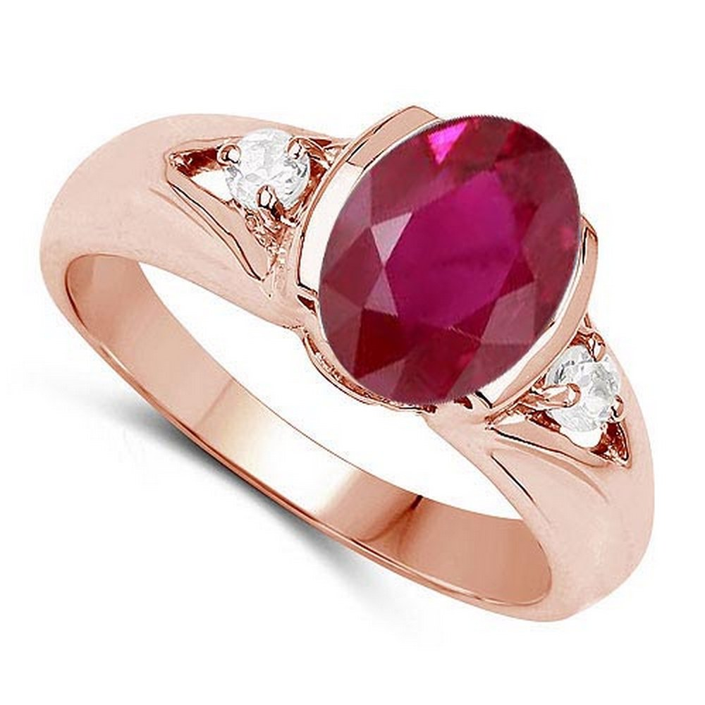 2.70 CTW Genuine Ruby And Diamond 14K Yellow Gold Ring #PAPPS90534