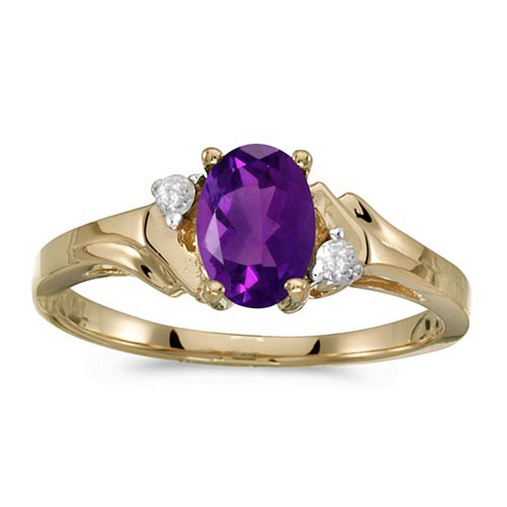 Certified 10k Yellow Gold Oval Amethyst And Diamond Ring #PAPPS51336