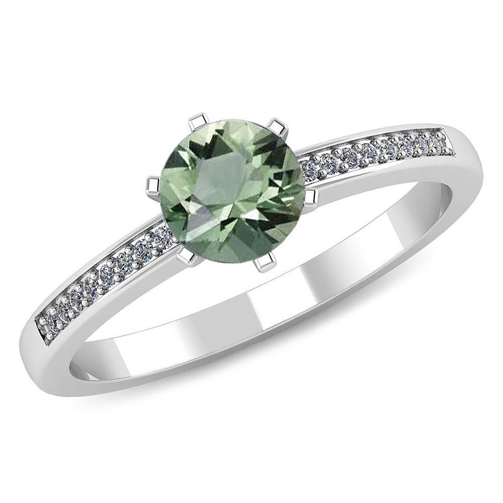 Certified 1.00 CTW Genuine Green Amethyst And Diamond 14K White Gold Ring #PAPPS91466