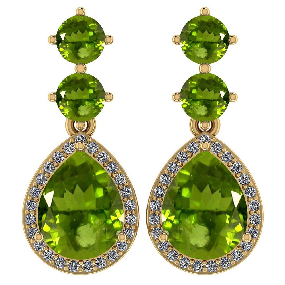 Certified 5.17 Ctw Peridot And Diamond 14k Yellow Gold Halo Dangling Earrings #PAPPS95378