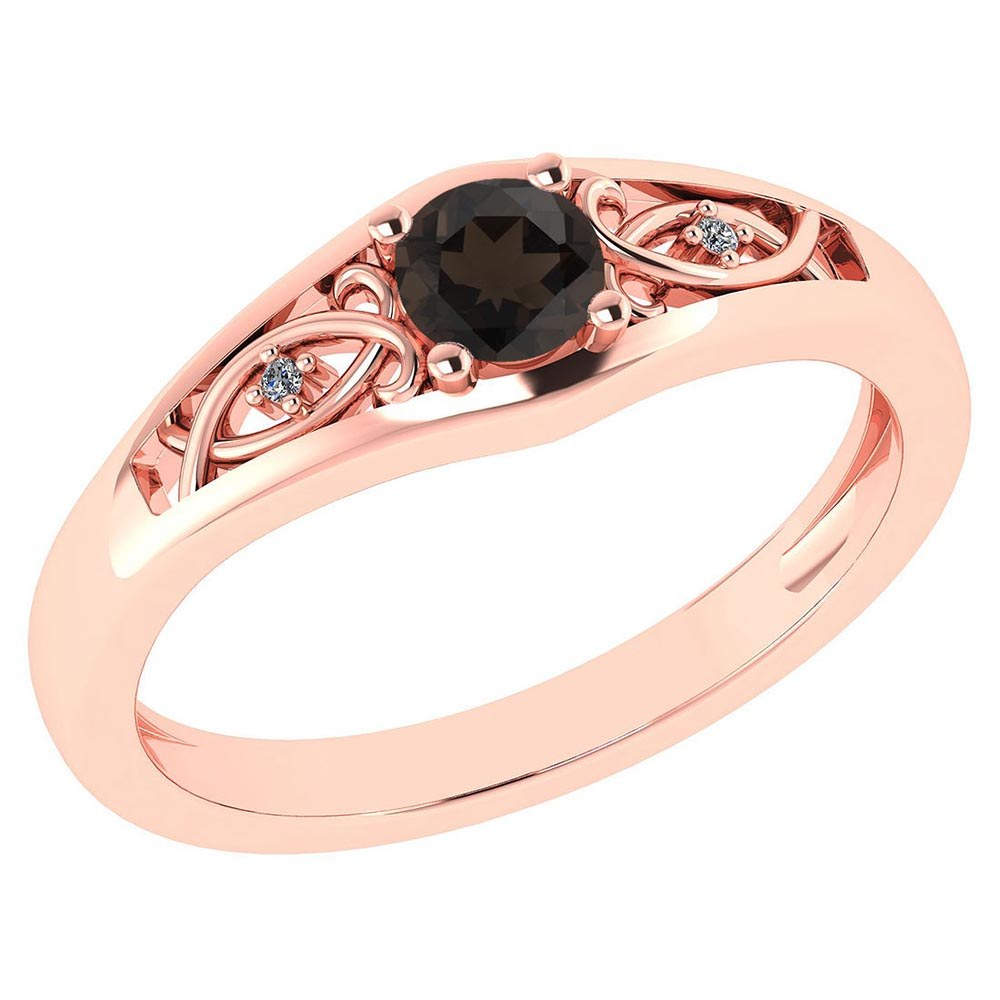 Certified 0.37 Ctw Smoky Quarzt And Diamond 14k Rose Gold Halo Ring #PAPPS95478