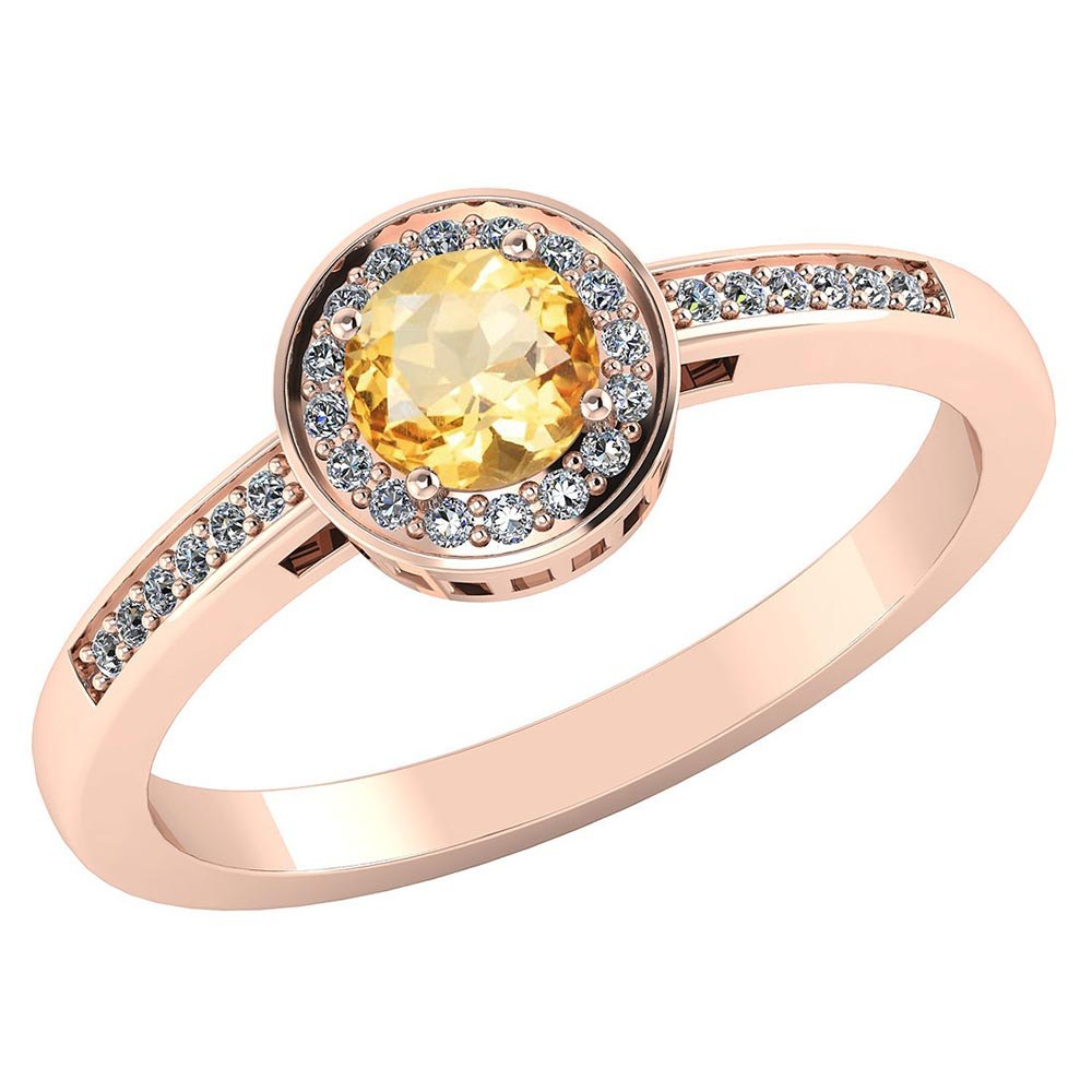 Certified 1.20 CTW Genuine Citrine And Diamond 14K Rose Gold Ring #PAPPS91611