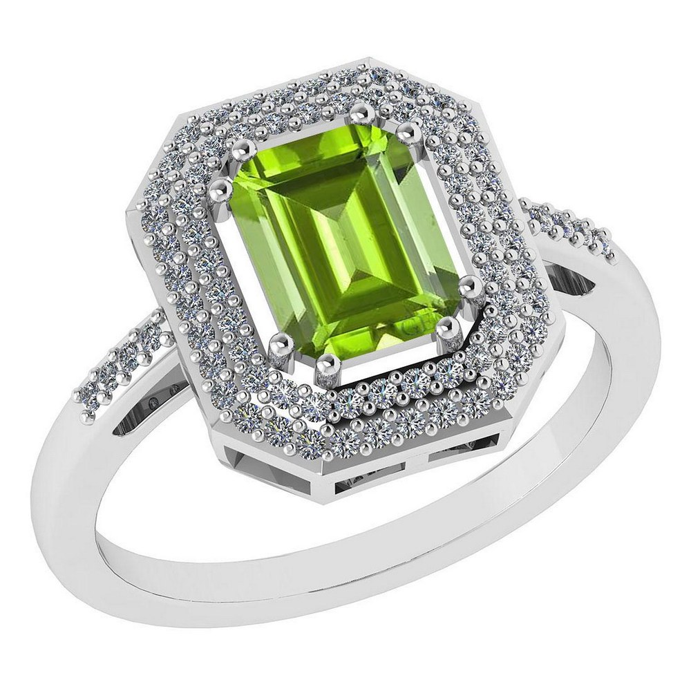 Certified 2.12 Ctw Peridot And Diamond 14k Yellow Gold Halo Ring #PAPPS95309
