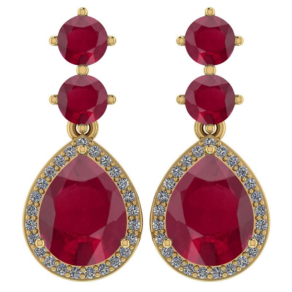 Certified 5.17 Ctw Ruby And Diamond 14k Yellow Gold Halo Dangling Earrings #PAPPS95371