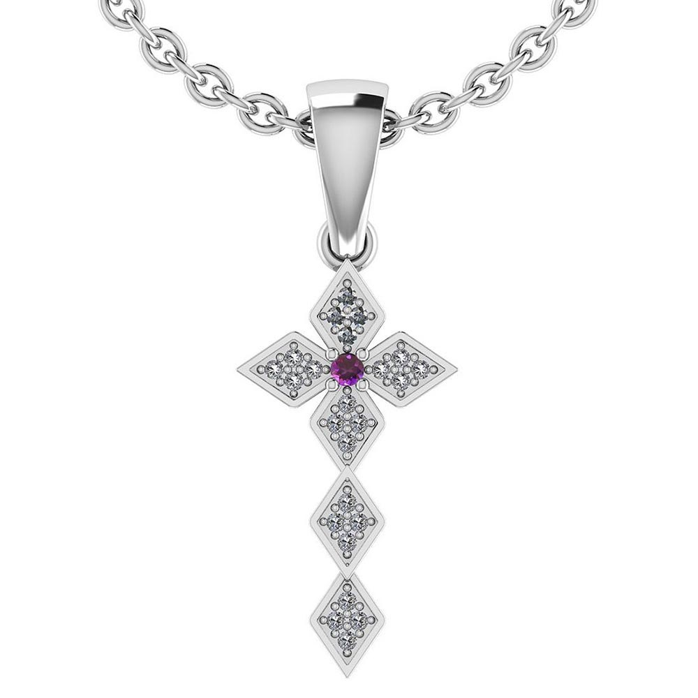 Certified 0.068 Ctw Amethyst And Diamond 14k White Gold Halo Pendant #PAPPS95430