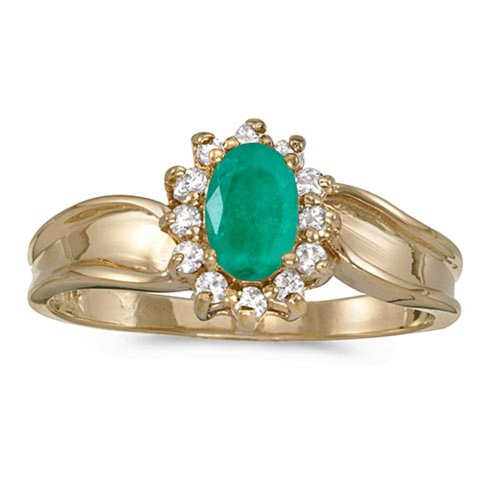 Certified 10k Yellow Gold Oval Emerald And Diamond Ring #PAPPS51390