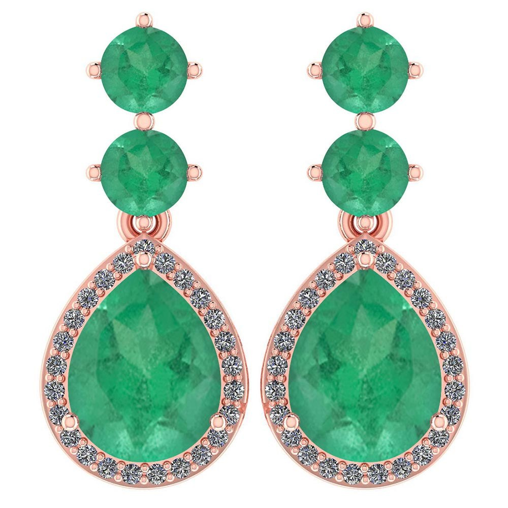 Certified 5.17 Ctw Emerald And Diamond 14k Rose Gold Halo Dangling Earrings #PAPPS95350