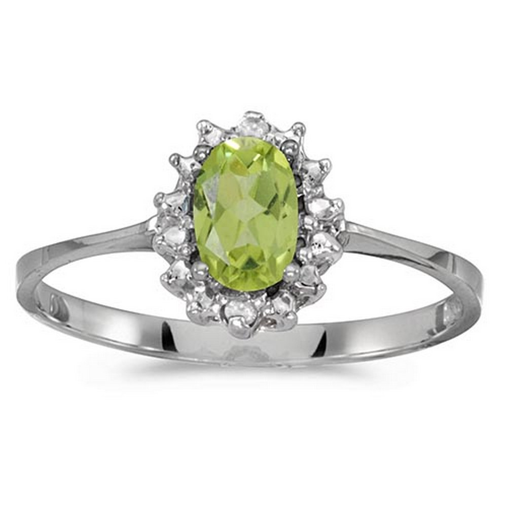 Certified 10k White Gold Oval Peridot And Diamond Ring #PAPPS51263