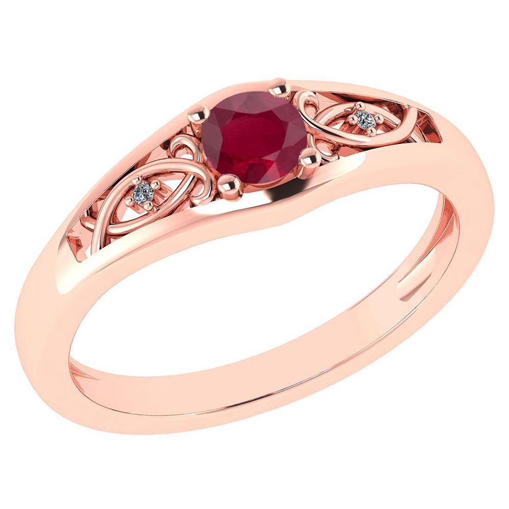Certified 0.37 Ctw Ruby And Diamond 14k Rose Gold Halo Ring #PAPPS95471