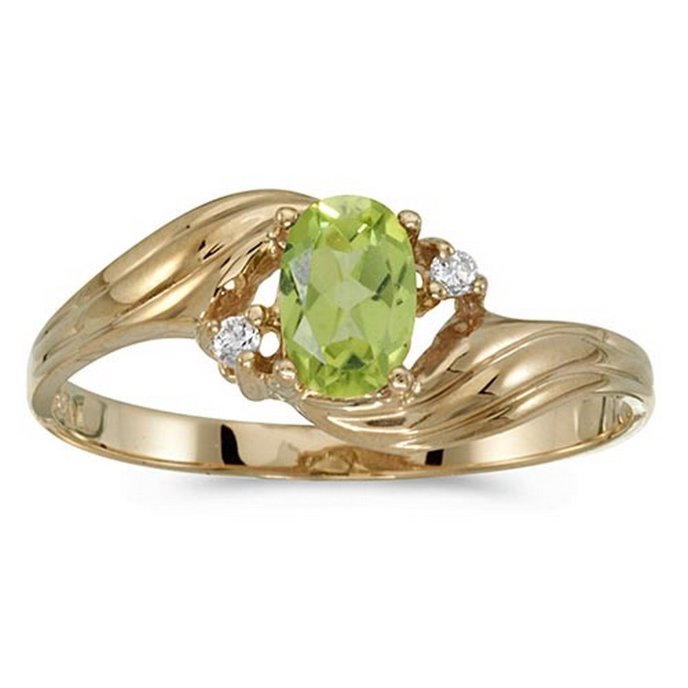 Certified 10k Yellow Gold Oval Peridot And Diamond Ring #PAPPS51165