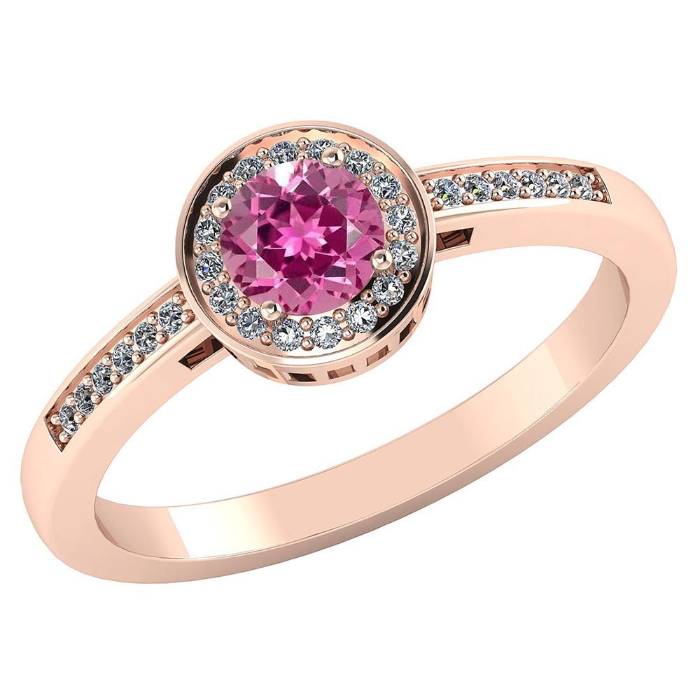 Certified 1.20 CTW Genuine Pink Tourmaline And Diamond 14K Rose Gold Ring #PAPPS91608