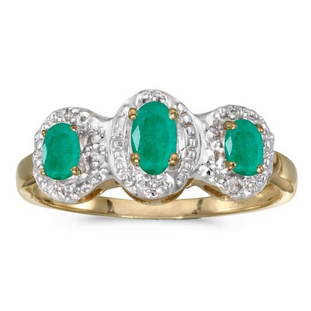 Certified 14k Yellow Gold Oval Emerald And Diamond Three Stone Ring #PAPPS51387