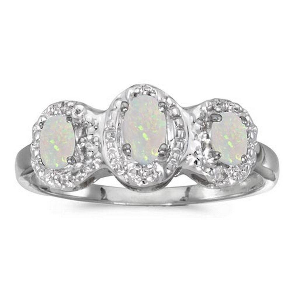 Certified 14k White Gold Oval Opal And Diamond Three Stone Ring #PAPPS51307
