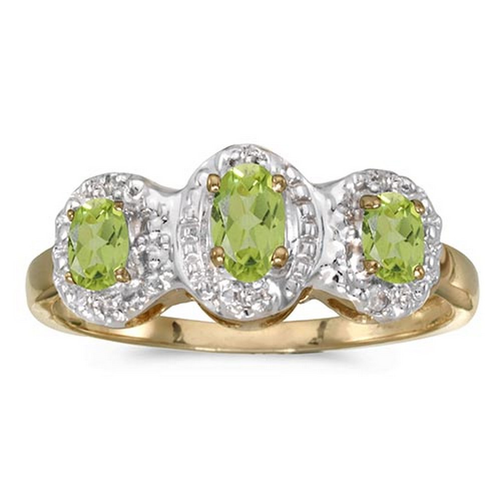 Certified 14k Yellow Gold Oval Peridot And Diamond Three Stone Ring #PAPPS51377
