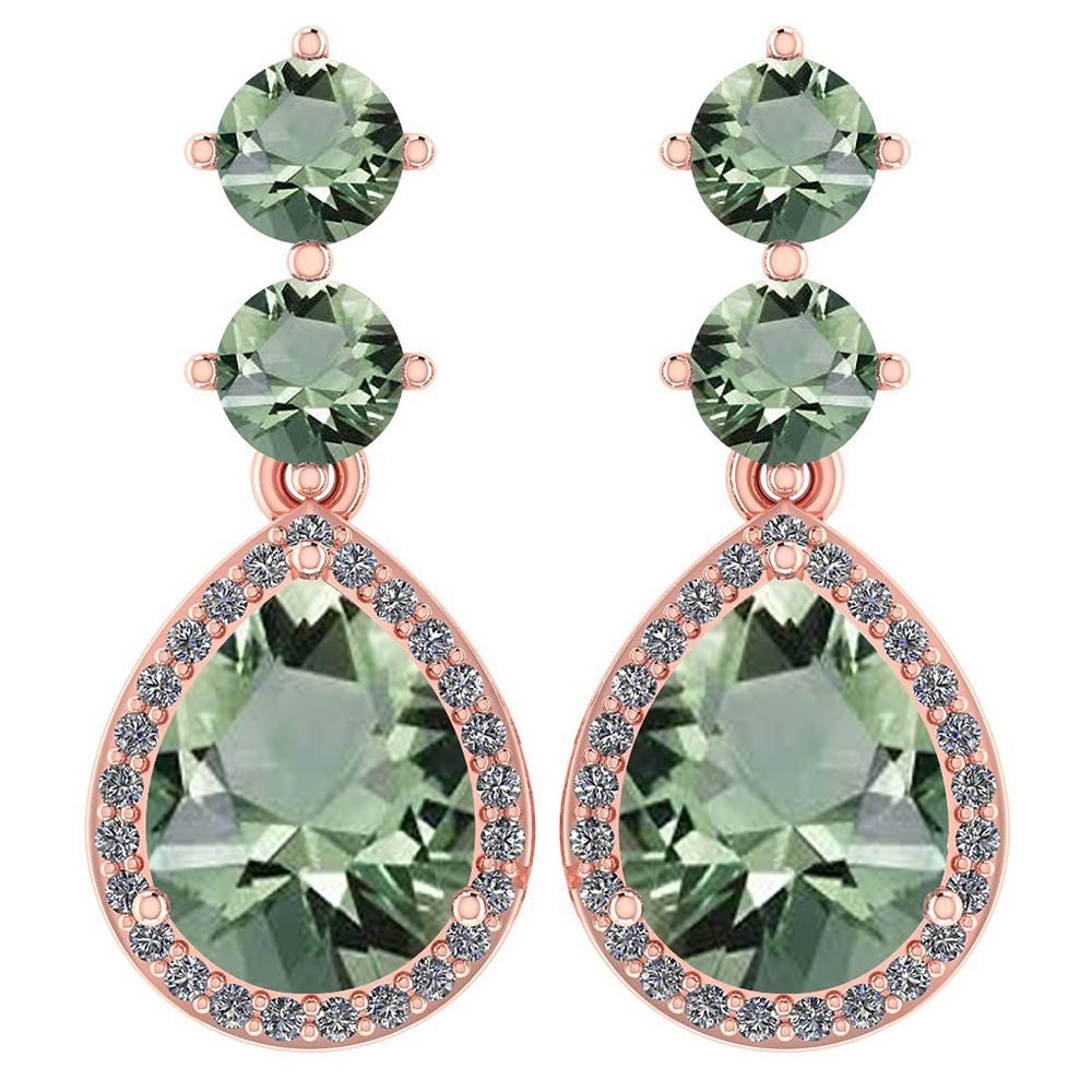 Certified 5.17 Ctw Green Amethyst And Diamond 14k Rose Gold Halo Dangling Earrings #PAPPS95353