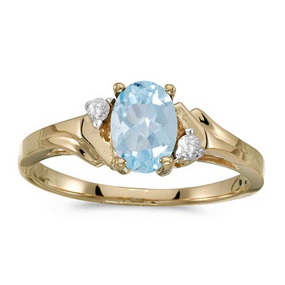 Certified 10k Yellow Gold Oval Aquamarine And Diamond Ring #PAPPS51330