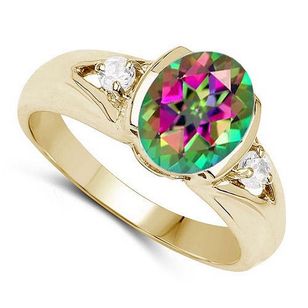 2.70 CTW Mystic Topaz And Diamond 14K Rose Gold Ring #PAPPS90520