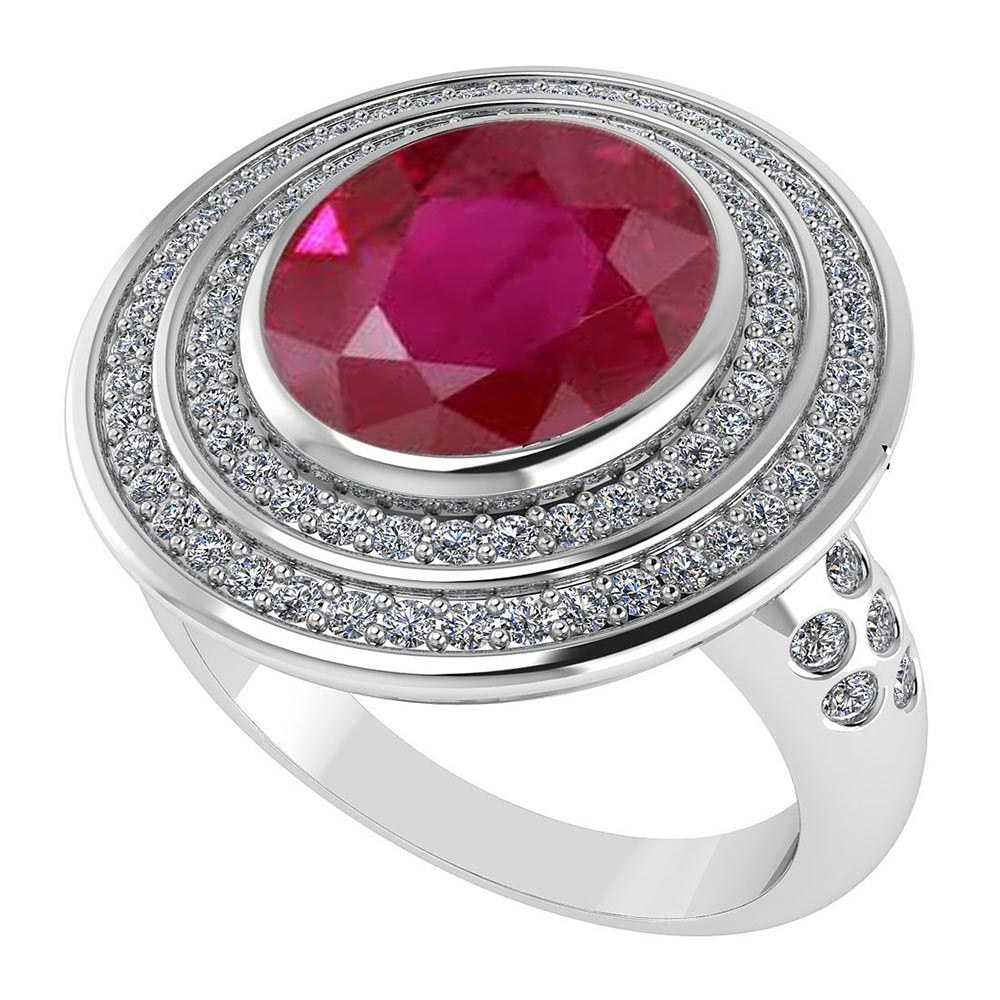 Certified 3.40 CTW Genuine Ruby And Diamond 14K White Gold Ring #PAPPS91596