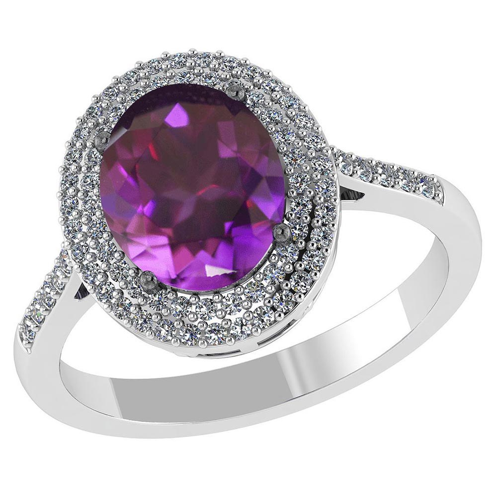 Certified 2.32 CTW Genuine Amethyst And Diamond 14K White Gold Ring #PAPPS91506
