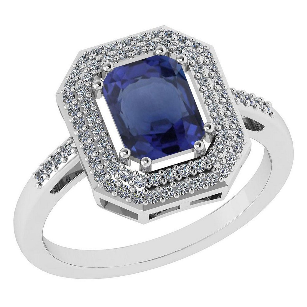 Certified 2.12 Ctw Bule Sapphire And Diamond 14k Yellow Gold Halo Ring #PAPPS95300