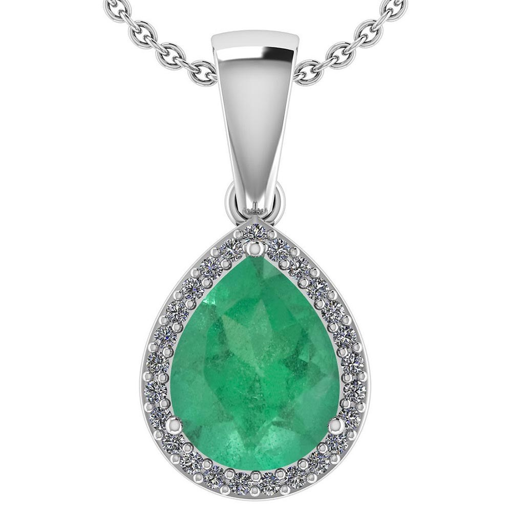 Certified 2.12 Ctw Emerald And Diamond 14k White Gold Halo Pendant #PAPPS95405