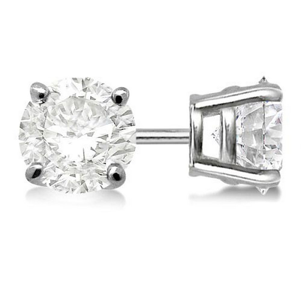 Certified 1.01 CTW Round Diamond Stud Earrings J/SI3 #PAPPS83799
