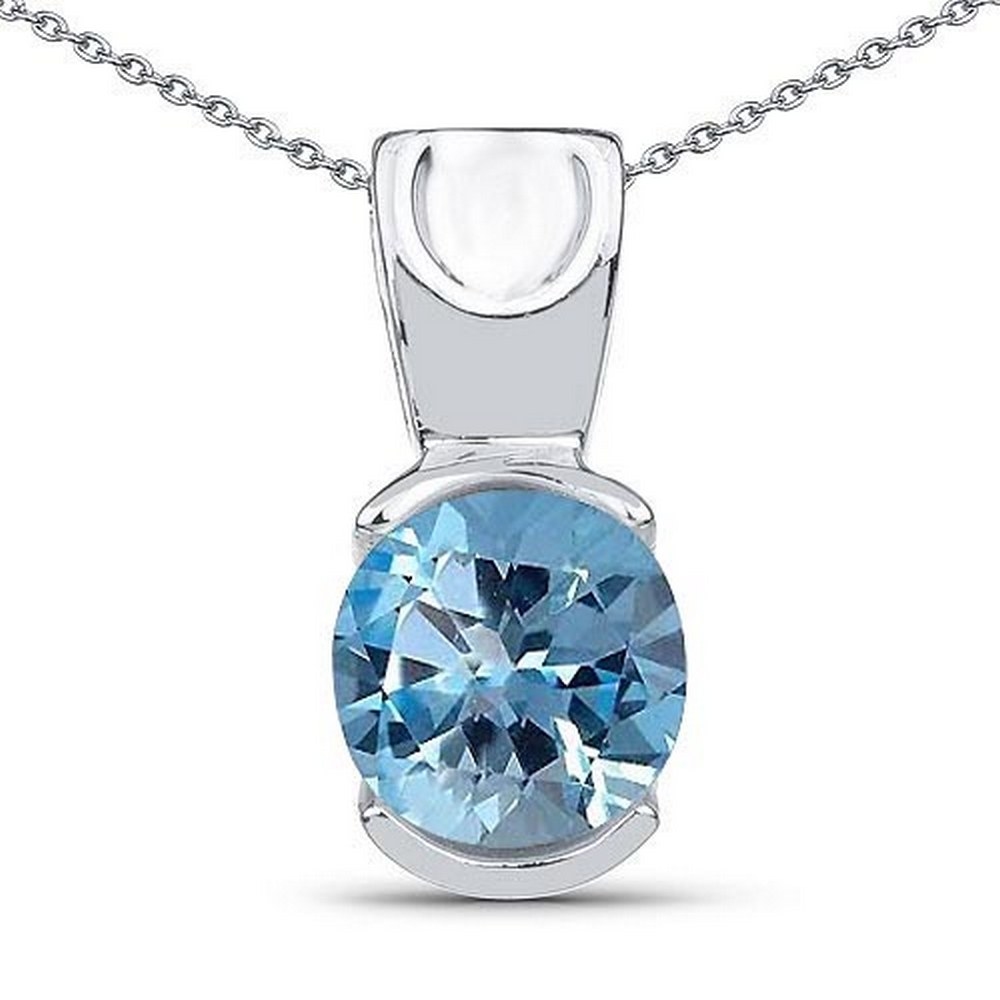 Certified 1.40 CTW Genuine Blue Topaz 14K White Gold Pendant #PAPPS90912