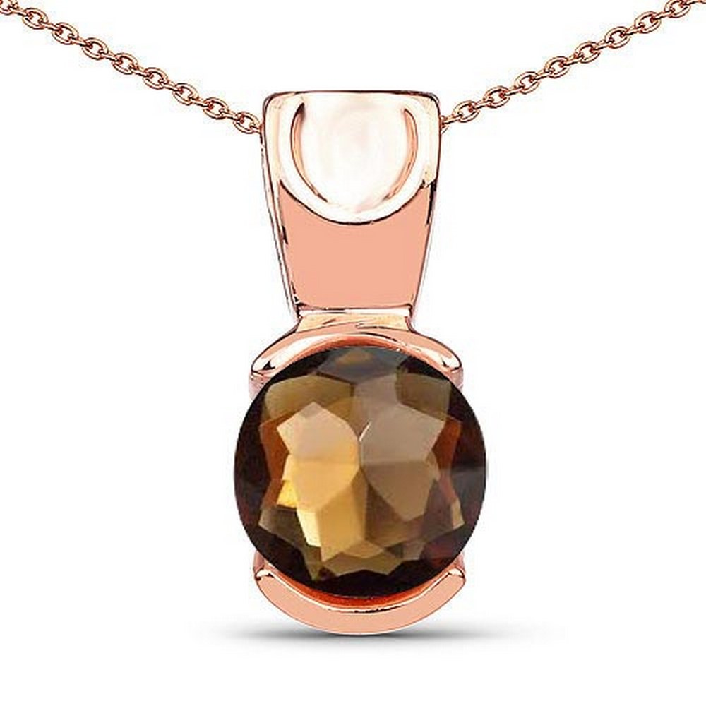 Certified 1.50 CTW Genuine Smoky 14K RoseGold Pendant #PAPPS90921