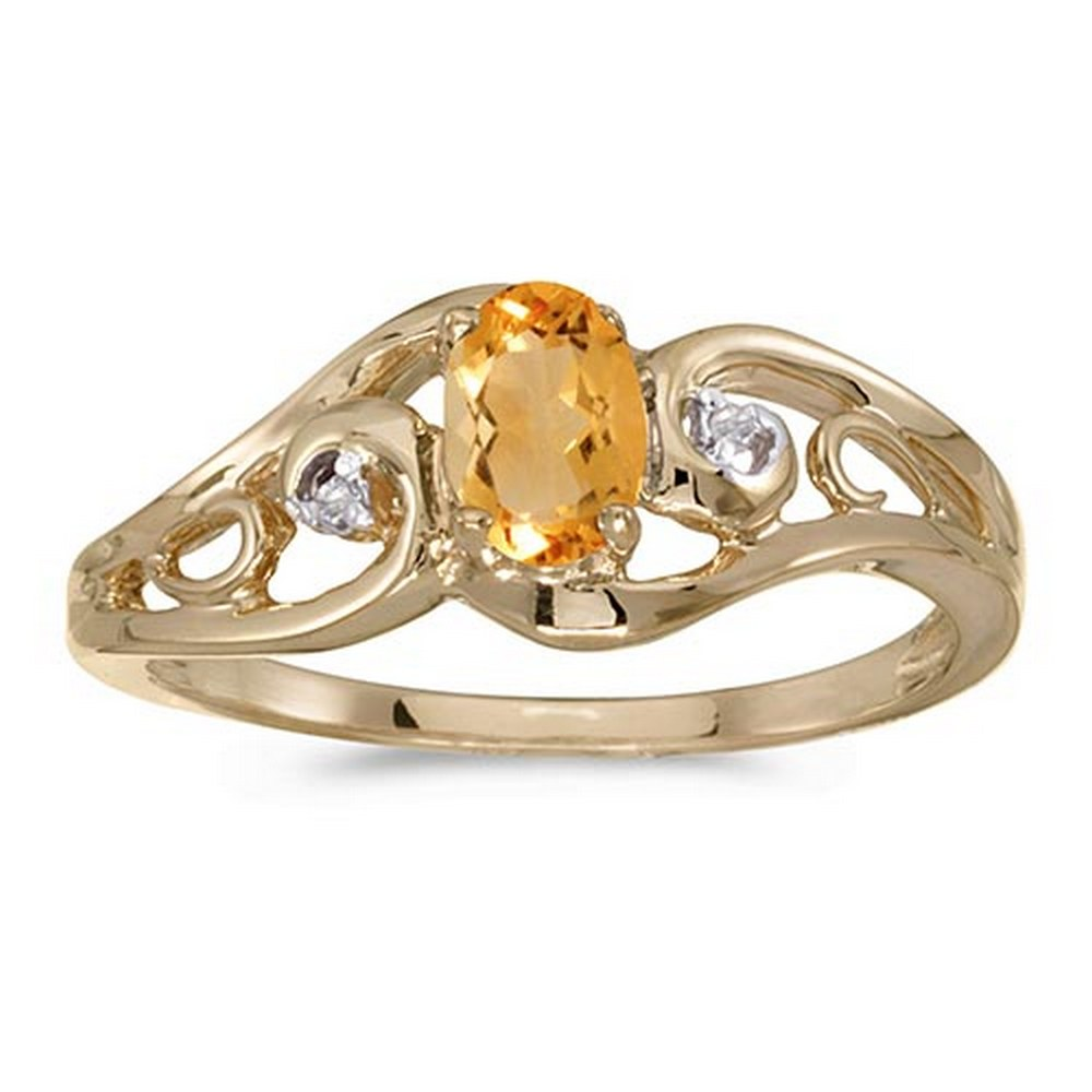Certified 14k Yellow Gold Oval Citrine And Diamond Ring #PAPPS51212