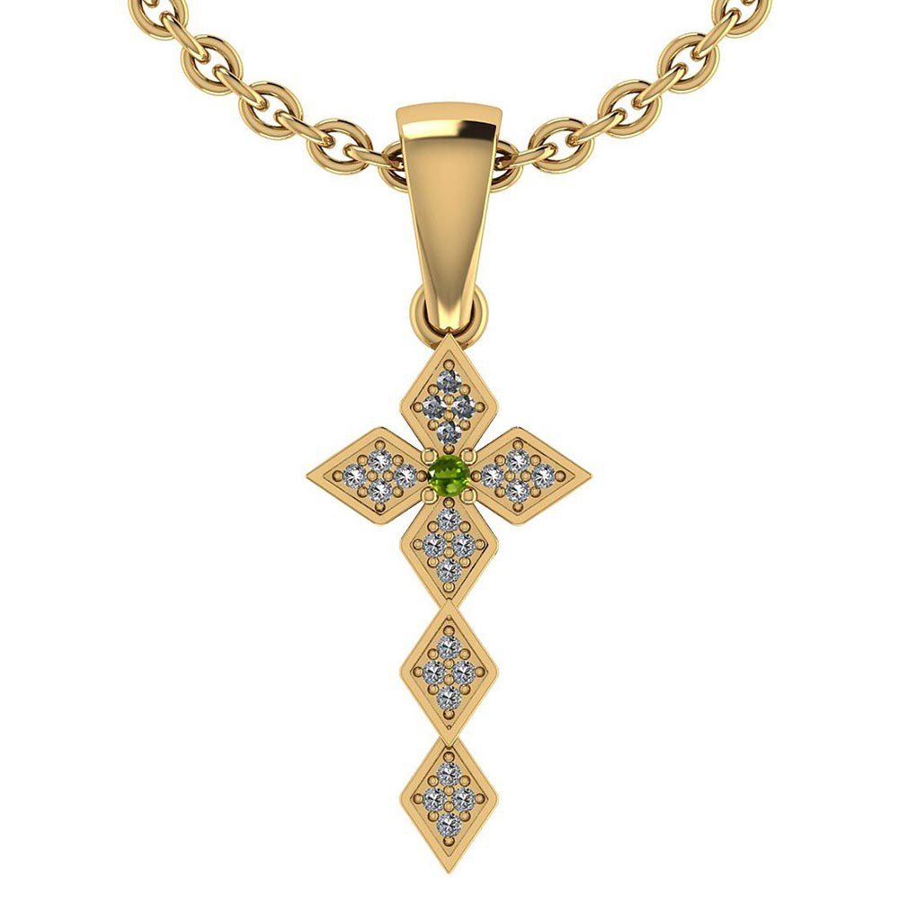 Certified 0.068 Ctw Peridot And Diamond 14k Rose Gold Halo Pendant #PAPPS95445