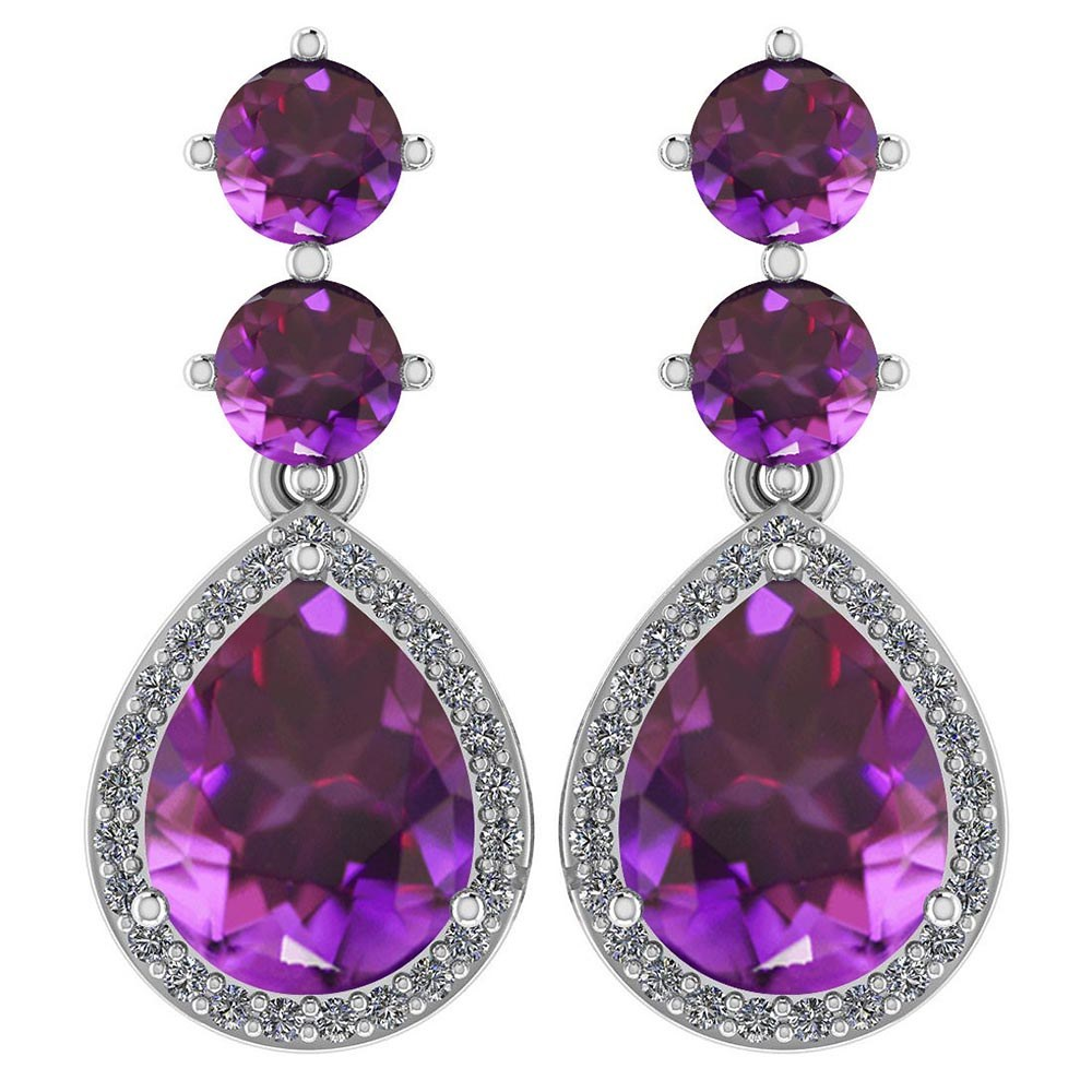 Certified 5.17 Ctw Amethyst And Diamond 14k White Gold Halo Dangling Earrings #PAPPS95363